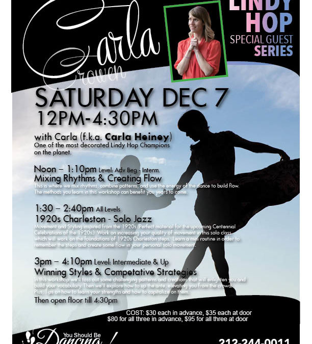 LINDY HOP WORKSHOPS with CARLA!